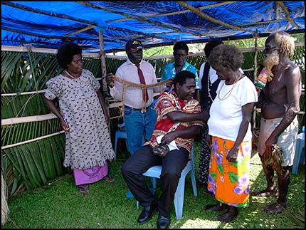 Tanis with family, preparing bilas