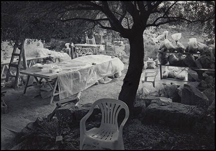 Professor Green's chair under the olive tree, Paphos 2004
